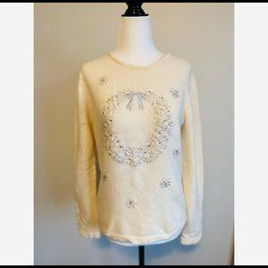 Orvis Vintage Christmas Sweater Wool Angora Hair